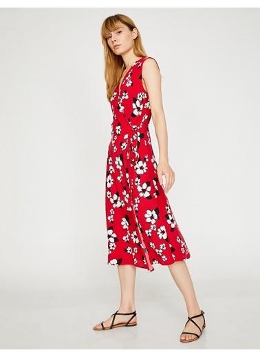 Koton V Yaka Çiçekli Uzun Elbise Kırmızı
